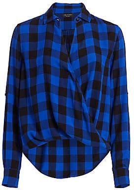 Rag & Bone Women's Camile Buffalo Check High-Low Blouson Shirt