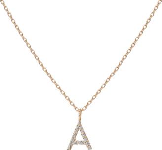 Aurate Mini Letter Charm Pendant with White Diamonds 14K