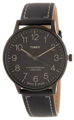 Timex Men's Waterbury Classic Leather Strap Watch, 40mm