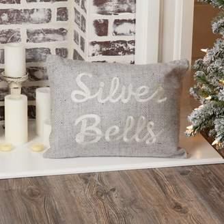 Ashton & Willow Nickel Grey Seasonal Decor Tinsley Silver Bells Viscose Wool Blend Embroidered Textured Text Rectangle Pillow (Pillow Cover, Pillow Insert)
