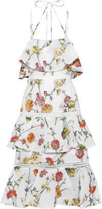 Prabal Gurung Tiered Matelasse Floral-jacquard Midi Dress