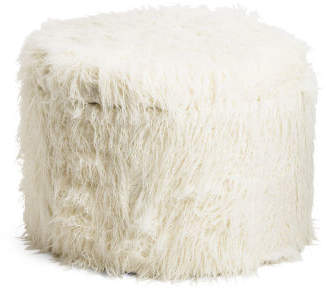 Shaggy Faux Fur Shoe Storage Ottoman
