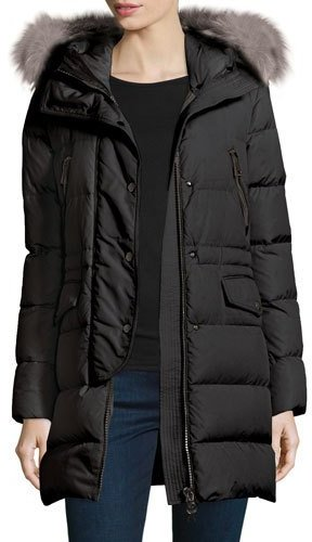 Moncler Moncler Fragonette Quilted Puffer Coat w/Detachable Fur Hood, Black