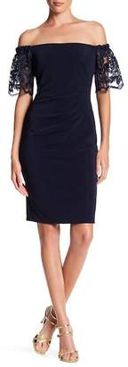 Marina Off-the-Shoulder Pleated Lace Cocktail Dress $159 thestylecure.com