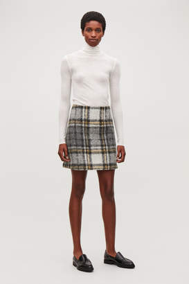 Cos CHECKED WOOL A-LINE SKIRT