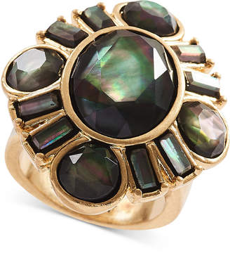 Lucky Brand Gold-Tone Black Mother-of-Pearl Stone Statement Ring