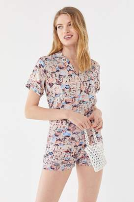 Urban Outfitters Beach Print Button-Down Shirt