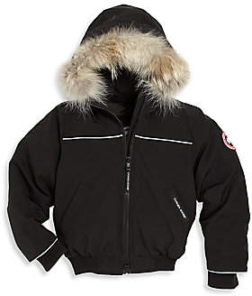 Canada Goose Little Kid's Grizzly Fur-Trim Down Bomber Jacket
