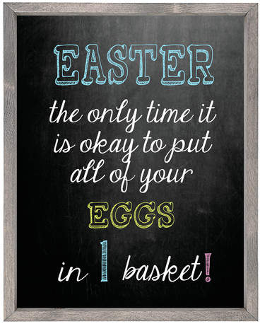 Forest Creations 'Easter the Only Time It Is Okay to Put All of Your Eggs in 1 Basket' Framed Textual Art