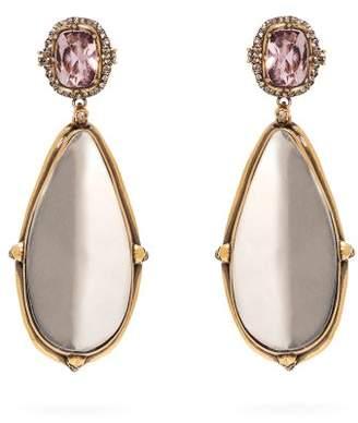 Alexander McQueen Crystal And Mirror Drop Earrings - Womens - Crystal