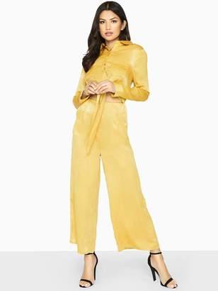Girls On Film Tie Front Detail Wide Leg Wide Jumpsuit - Mustard