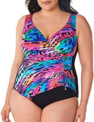 07714a8079 Robby Len By Longitude Animal One Piece Swimsuit Plus