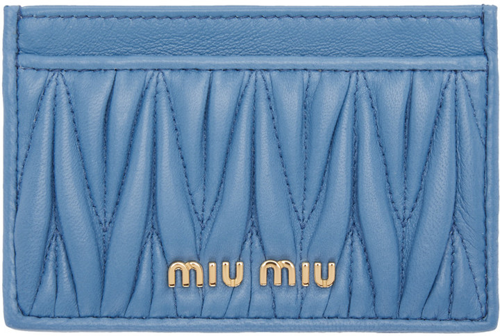 Miu Miu Miu Miu Blue Matelassé Card Holder