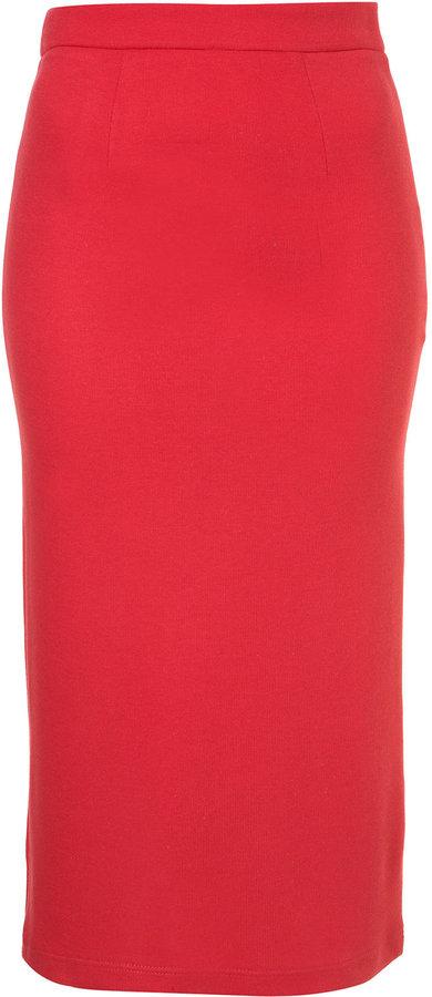 Pink Jersey Midi Pencil Skirt