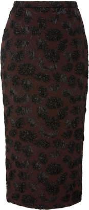 Rochas Metallic Silk-Brocade Midi Skirt