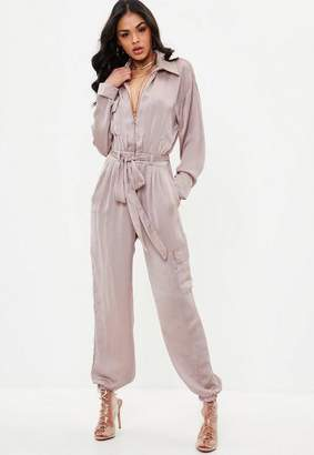 Missguided Pink Utility Satin Romper