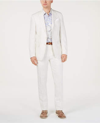 Tallia Men Slim-Fit Linen Taupe/Cream Stripe Suit