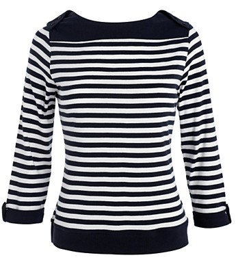 Navy stripe slash neck top