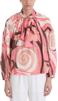 Marc Jacobs Pink Tie Neck Printed Blouse