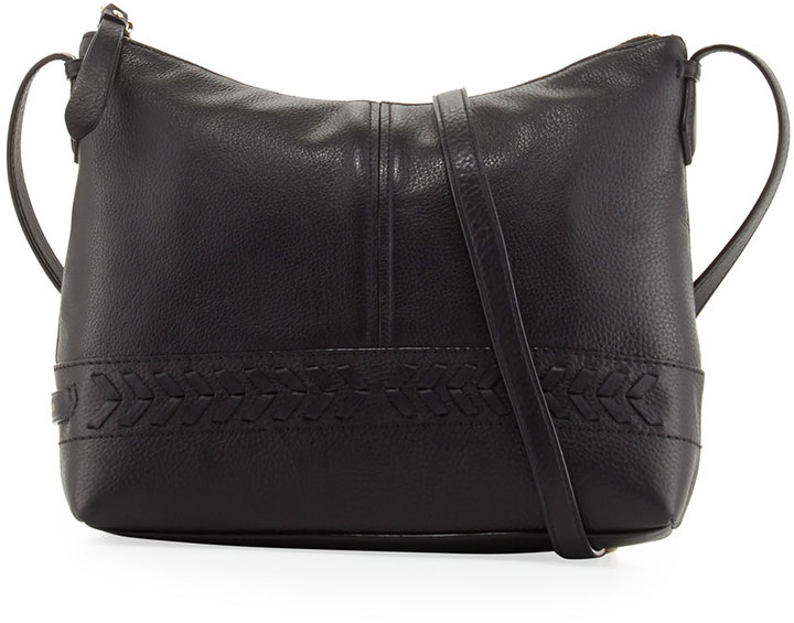 Cole Haan  Cole Haan Lacey Herringbone-Woven Trim Leather Crossbody Bag, Black