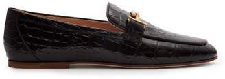 Tod's Crocodile Effect Leather Loafers - Womens - Black