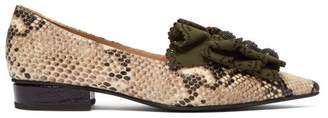 Rue St. - Siroka Pointed Toe Python Effect Leather Flats - Womens - Cream Multi