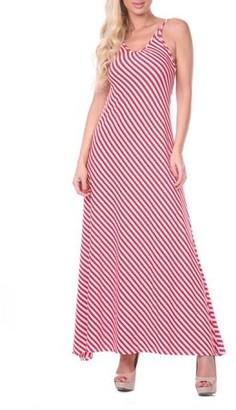 White Mark Women's Backless Striped Maxi Dress