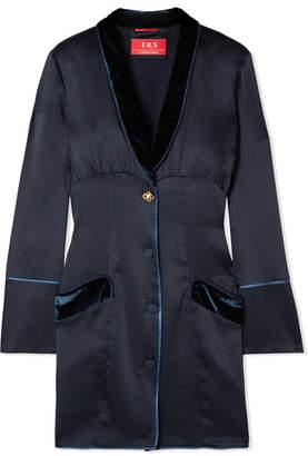 F.R.S For Restless Sleepers - Techne Velvet-trimmed Satin Mini Dress - Midnight blue