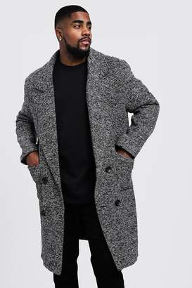 boohoo Big & Tall Textured 3/4 Smart Lined Overcoat