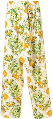 Hermes Pre-Owned high waisted floral trousers