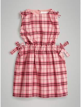 Burberry Tie Detail Check Cotton Dress , Size: 6Y
