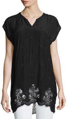 Johnny Was Seal Short-Sleeve Long Lace-Hem Tunic $220 thestylecure.com