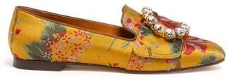 Dolce & Gabbana Crystal Embellished Floral Brocade Loafers - Womens - Multi