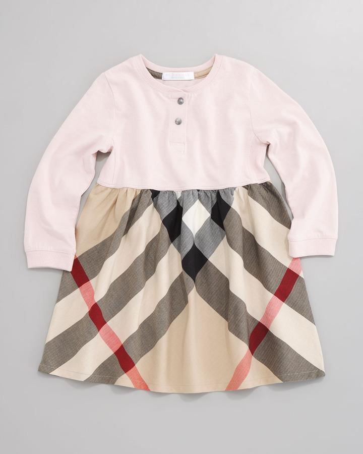 Burberry Check-Skirt Henley Dress, Ice Pink