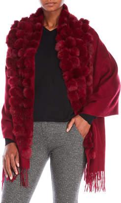 Belle Fare Real Fur Pom-Pom Poncho