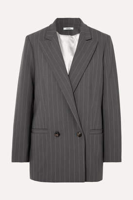 Ganni Garvey Pinstriped Stretch-cady Blazer - Light gray