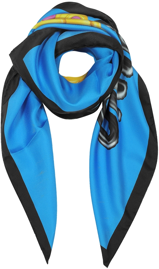 Moschino Moschino Blue and Black Pure Silk Teddy Bear Square Scarf