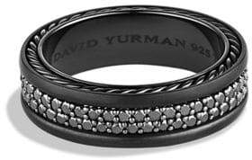 David Yurman Streamline Two-Row Black Diamond Band Ring