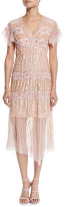 Nanette Lepore Jeweled V-Neck Pleated Dress