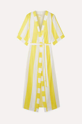 VerdeLimón - Striped Voile Robe - Yellow