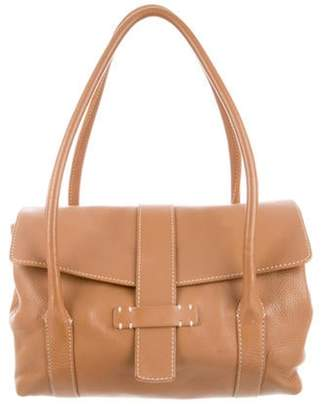 Loro Piana Grained Leather Shoulder Bag Cognac Grained Leather Shoulder Bag
