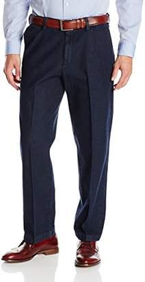 Haggar Men's Work-To-Weekend Dark Stonewash No-Iron Plain-Front Denim Pant