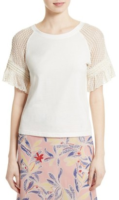 Women's See By Chloe Lace Sleeve Tee $195 thestylecure.com