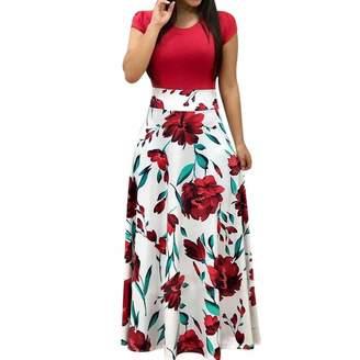 f1cb75021c4e7 Lonely Store Beautiful Dress Women Elegant Floral Print Summer Patchwork Maxi  Dress 2018 Casual Short Sleeve