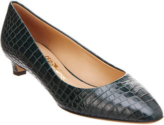 Salvatore Ferragamo Croc-Embossed Leather Pump