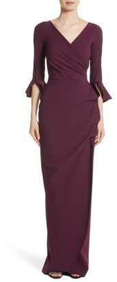 Chiara Boni Ruffle Cuff Side Drape Gown