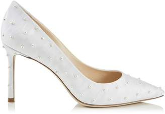 Jimmy Choo ROMY 85 White Moire Fabric Pointy Toe Pumps with Pearl Detailing