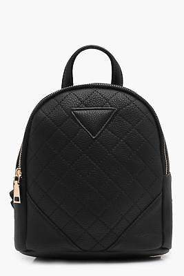 boohoo NEW Womens Quilted Mini Rucksack in Black size One Size