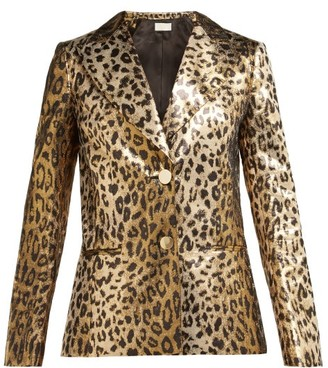 Sara Battaglia Single Breasted Leopard Print Lame Jacket - Womens - Leopard