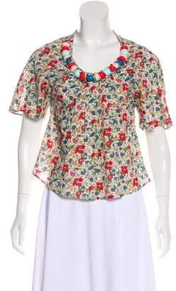 Cacharel Embellished Floral Print Top